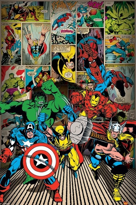 MARVEL COMICS here come Poster