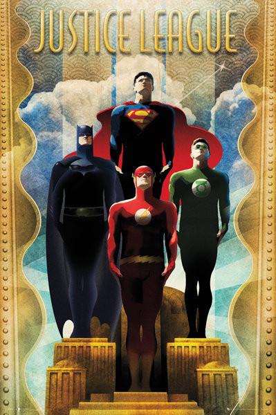 DC Comics Team Art Deco Poster