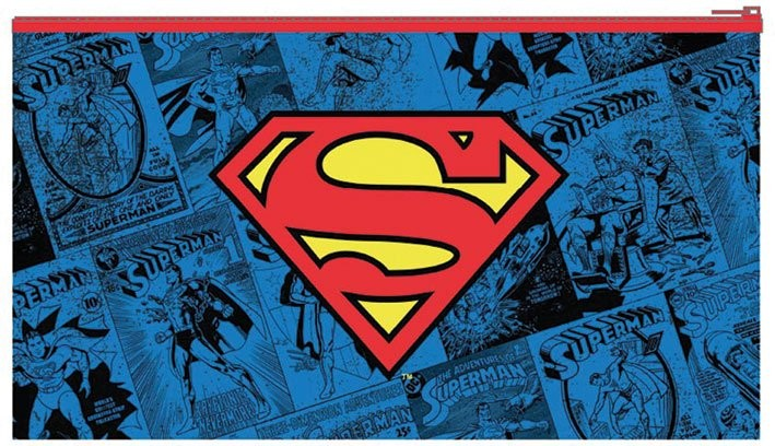 DC Comics Flat Pencil Case Superman Logo Stationery