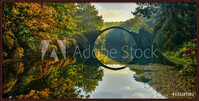 Amazing place in Germany - Rakotzbrucke also known as Devils Bridge in Kromlau Framed Poster