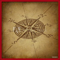 Compass rose in perspective with grunge texture Framed Poster