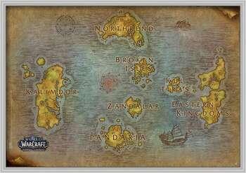 Framed Poster World Of Warcraft - Map