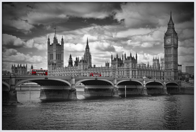 Art Print on Demand LONDON Westminster Bridge & Red Buses